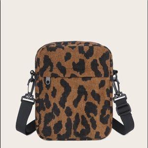 Handbags - Leopard Corduroy Crossbody Bag